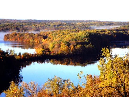 Huntington Mine, front, and Blackhoof Lake are visible from the Miner's Mountain Overlook, along the Miner's Mountain Trail at Cuyuna Country State Recreation Area.
