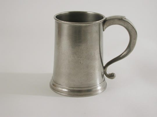 Quart mug  made by Thomas Danforth II in the late 1700s, on display at Danforth Pewter in  Middlebury along with pieces from other early Danforths as well (Joseph, Jonathan, Edward and Samuel.)