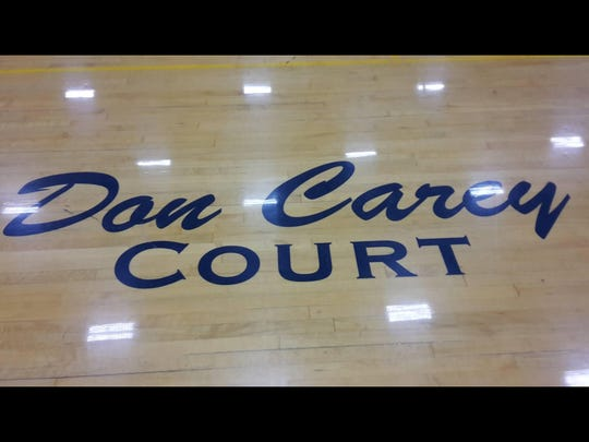 Former coach Don Carey has his name on the Stayton High gym.