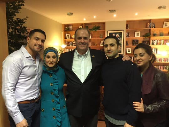 From left to right: Dr. Ramy Kurdi, (Amir's brother-in-law), Sarah Hekmati (Amir's sister), Congressman Dan Kildee, Amir Hekmati, and Leila Hekmati (Amir's sister).