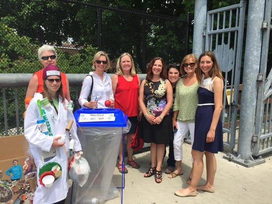 The Walkway Marathon's green team includes, left to right, Judith Papo, president, HV Shred dba Legal Shred; Lindsay Carille, deputy commissioner, Dutchess County Division of Solid Waste Management; Linda LoGiurato, master gardener, Cornell Cooperative Extension; Joyce Tomaselli, community horticulture coordinator, Cornell Cooperative Extension; Evelyn Constantino, director, Royal Carting Service Company; Diana DiMuro, former administrative assistant, Walkway Over the Hudson; Kathy Smith, board of directors, Walkway Over the Hudson, and master gardener, Cornell Cooperative Extension; and Sue O'Neil, program and events manager, Walkway Over the Hudson. Not photographed are John Lyons, president, MetroPool; Josephine Papagni, vice president, Greenway Environmental Services; and Tami Herendeen, outreach manager, 511NY Rideshare.