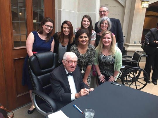 Bethel University students and faculty members met with retired U.S. Supreme Court Justice John Paul Stevens April 25 in St. Louis. With the retired justice are students Gabrielle Darden, of McKenzie, and Hannah Patrick, of Milan; next row: Bethel graduate and Washington University Law School student Sasha Arnold, Bethel students Lindsey Hensley, of Camden, and Kaylie Passen, of Hendersonville, and Bethel faculty members Teresa Rose and Todd Rose.