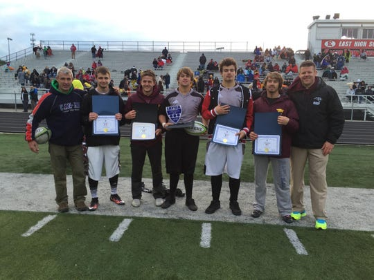 Several Ankeny and Ankeny Centennial rugby players were named to the all-state team. From left: coach Evan Sunde, Caleb Shaw (Ankeny Centennial), Tyler Hadden (Ankeny), Christian Heimer (Ankeny Centennial), Ben Heimer (Ankeny Centennial), Colby Baugher (Ankeny) and coach Dennis Oliver.