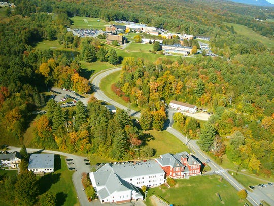 An aerial photo of Johnson State College taken from one of Phil Ploof's radio controlled planes.