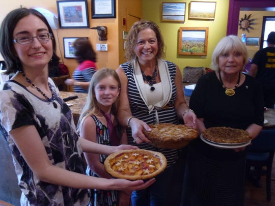 Peach Pie finalists Renee Krell (from left), Sandi Zakheim-Nord and daughter, Carolyn Olga Trusso with their pies.