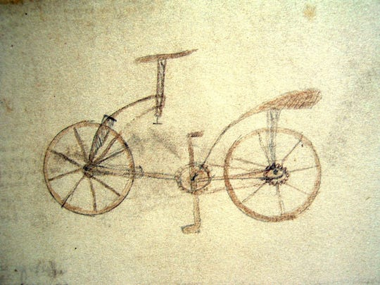 This is one of the drawings included in the exhibit Da Vinci Machines and Robotics at the Cranbrook Institute of Science.