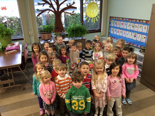 Children at Horseheads Presbyterian Nursery School collected nonperishable food items to support Horseheads Food Pantry.