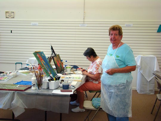 Patt Bundy and Pat Anderson attend an art class at the Cape Coral Art League.