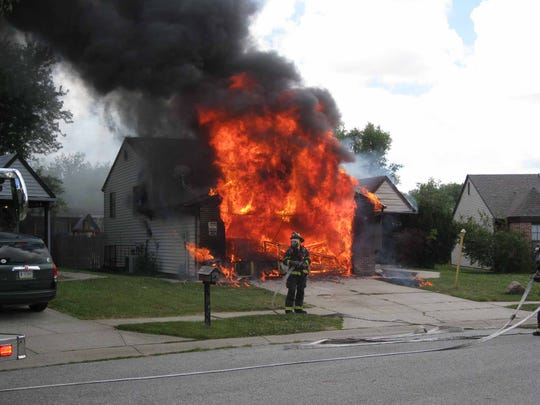 Indianapolis firefighters were called to this home in the 6400 block of Perry Pines Court on Wednesday.