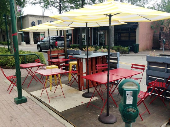 This is an example of a parklet that was erected on Jefferson Street in downtown Lafayette as part of a pilot project.