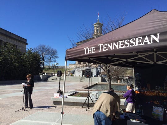 Tennessean news director Maria De Varenne speaks at The Tennessean's first Sunshine Week rally at Legislative Plaza in downtown Nashville on Sunday, March 15, 2015.