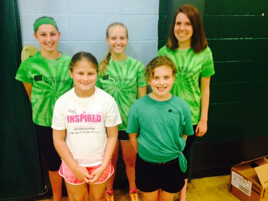 Evergreen Elementary Kali Brost and Katelyn Hall have been selected to lead Evergreen Bay Elementary in the fight against hunger for the 2014-15 school year. Pictured are CJ Hargraves, back, from left, Grace Martin and Peyton Medick; and Katelin Hall, front, and Kallie Brost.