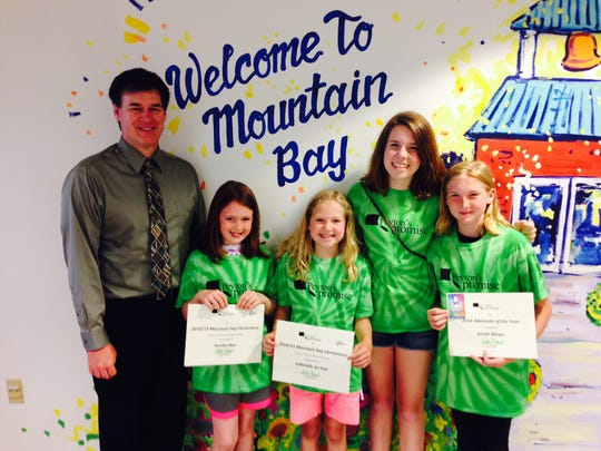 Mountain Bay Elementary  Gabrielle duVair and Anika Nye have been selected to lead Mountain Bay Elementary in the fight against hunger for the 2014-2015 school year. Pictured are Principal Patrick Phalen, Anika Nye, Gabrielle duVair, Peyton Medick and 2013-2014 Advocate Sarah Mayer.