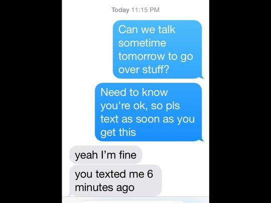 A text exchange between Rich Klein to his son Brett.
