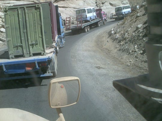 The Salang Pass, which cuts through the Hindu Kush mountains, draws heavy traffic of all kinds and backups at the entrance to the 1.6-mile Salang tunnel sometimes stretch for miles.