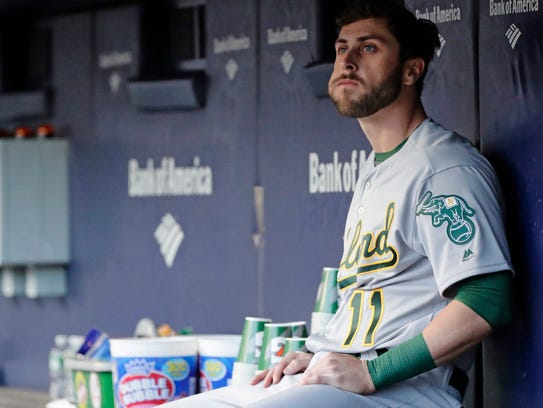 Oakland Athletics' Dustin Fowler looks at the field
