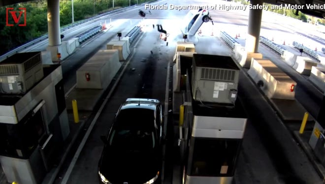 Video of a man being ejected from a car after crashing into a Florida toll plaza