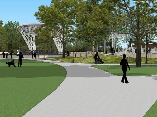 A view of the changes coming to Des Moines Water Works Park. Construction started Tuesday.