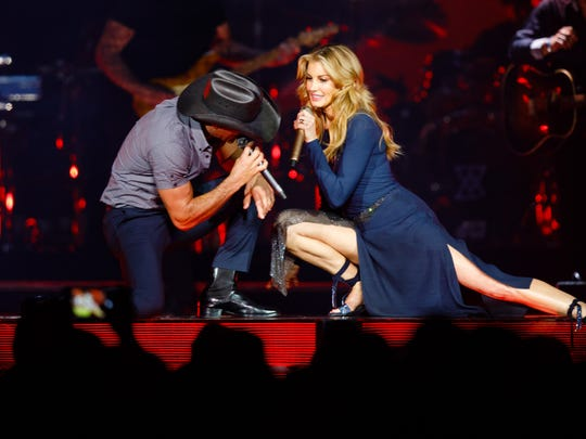 Faith Hill and Tim McGraw perform Saturday, June 10, 2017, during the Soul2Soul World Tour at Wells Fargo Arena in Des Moines.