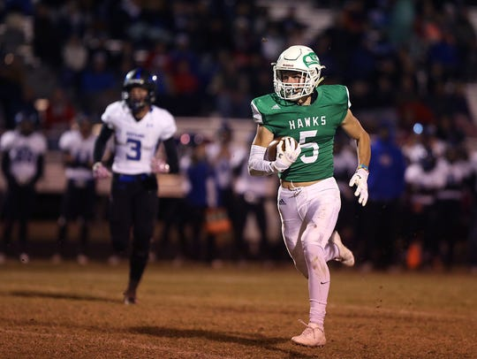Wall's Drake Holifield makes a play down field during