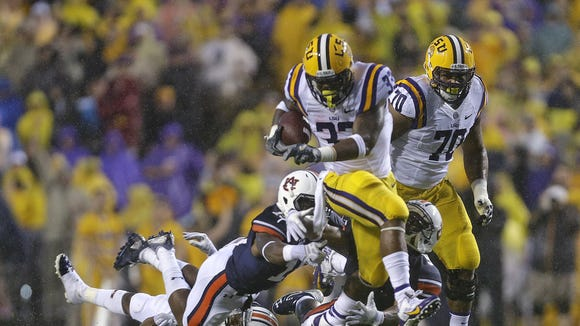 Jeremy Hill ran for 184 yards and three touchdowns in LSU's 35-21 win over Auburn last season. The Tigers haven't lost an SEC game since.