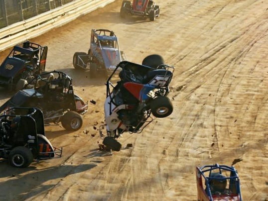 Chris Gerhart takes a flip during the Wingless 600 Micro Sprint race at Lanco's Labor Day Shootout on Saturday.
