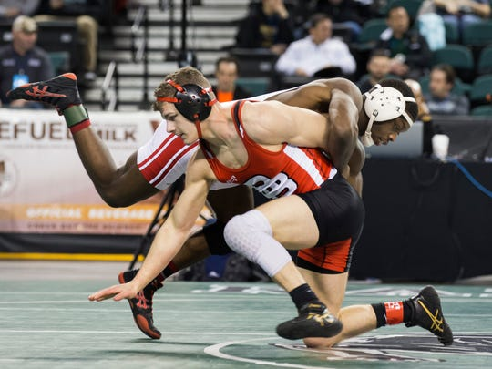 Bound Brook's Joe Casey vs Paulsboro's  George Worthy in Consolation rounds at  NJSIAA State Wrestling in Atlantic City on Sunday, March 4 , 2018.