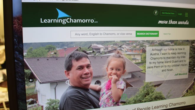 LearningChamorro.com's homepage is displayed on a computer screen.