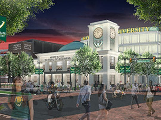 "The Ilitch family plans to donate $35 million to build Wayne State's new business school plus a $5-million endowment. The building, seen here in an artist's rendering of a street view at night, would be marketed as ""Detroit's business school"" and located on property owned by the family and near the new Red Wings arena under construction on Woodward Avenue north of downtown Detroit."