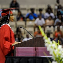 Imani Harvin, mistress of ceremonies, speaks during the Northside High School commencement exercises at the Cajundome in Lafayette, La., Saturday, May 23, 2015. Paul Kieu, The Advertiser