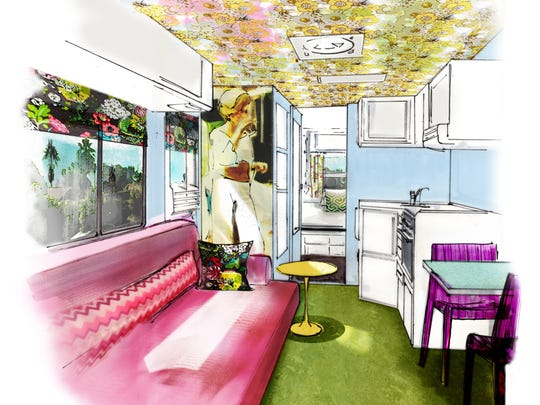 """Local designer Christopher Kennedy's renderings for Gertie the RV's makeover was inspired by Slim Aaron's """"Poolside Gossip"""" photographs."""