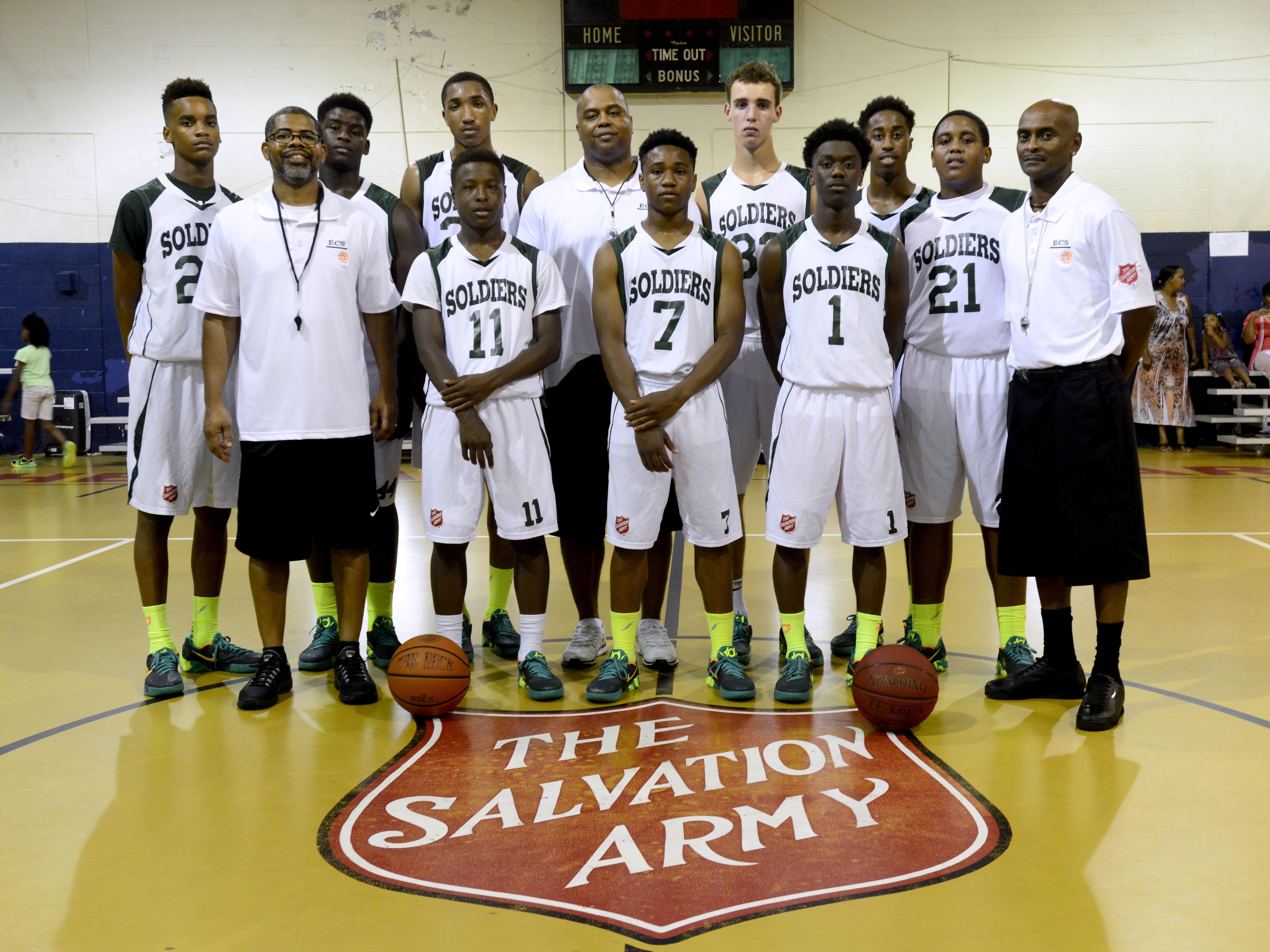 The Emerald Coast Soldiers are representing Pensacola in the AAU Nationals in Memphis this weekend. Players and coaches in the front row are, from left, coach Kenton Cass, Eric Milton, Roy Jones III and Eric Goldsmith and coach Micheal Randolph Snr. The back row, from left, are Micheal Randolph Jr., Taylor Williams, Davonchae Bryant, head coach Dwayne Kelley, Hayden Atkinson, Shawndarius Cowart and Dwayne Kelley Jr.