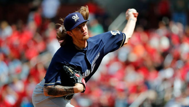 Brewers relief pitcher Josh Hader fires a pitch vs. the Cardinals earlier this season.