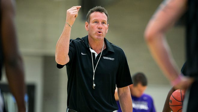 GCU basketball coach Dan Majerle leads practice at the Student Recreation Center on campus in Phoenix.