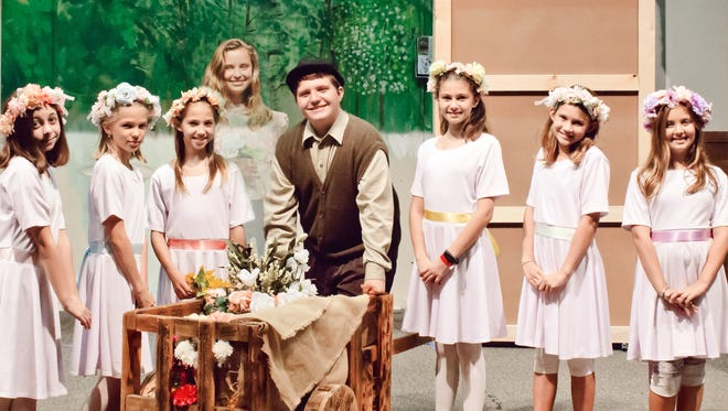 """The Secret Garden"" cast members. From left to right: Audra Schiavo, Sophie Aspegren, Tara Pfent, Jane Benz, Gianni Gizzi, Lorelai Vega, Mirabelle Bishaw and Leni Willhite."