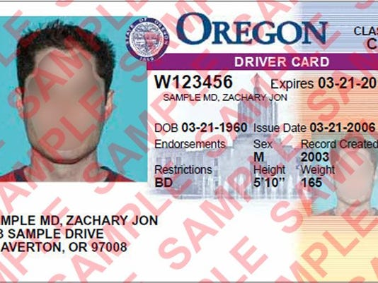 oregon driver card sample