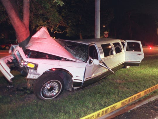 Photo of the limousine which crashed into a tree in