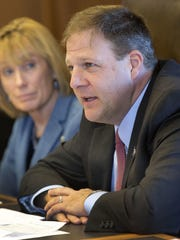 Gov. Chris Sununu, right, launched the Recovery-Friendly Workplace Initiative in 2018.