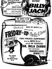 "Dr. Bela Zarbo made frequent appearances around the Coastal Bend. An advertisement from the Aug. 12, 1971 Corpus Christi Times announced Dr. Zarbo's appearance at the National Twin movie theater for a showing of ""Frankenstein Created Woman."""