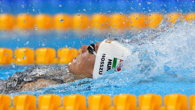 Katinka Hosszu (HUN) in the women's 400m individual medley final during the Rio 2016 Summer Olympic Games at Olympic Aquatics Stadium.