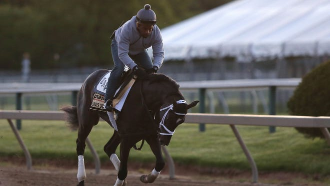 Kentucky Derby winner Always Dreaming gallops during a morning workout in preparation for the 142nd Preakness Stakes at Pimlico Race Course on  May 16.