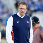 Oct 15, 2015; Lexington, KY, USA; Auburn Tigers head coach Gus Malzahn looks on during the game against the Kentucky Wildcats at Commonwealth Stadium. Mandatory Credit: Mark Zerof-USA TODAY Sports