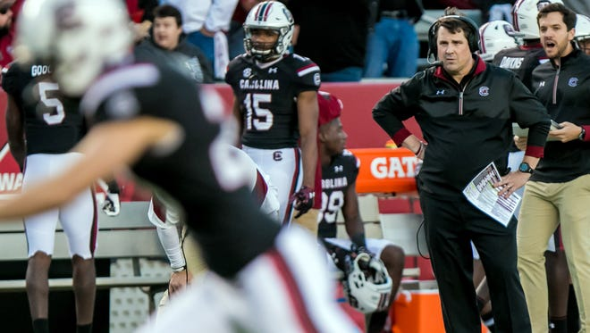 South Carolina Gamecocks head coach Will Muschamp watches South Carolina Gamecocks place kicker Elliott Fry (29) kick an extra point against the Western Carolina Catamounts in the second quarter at Williams-Brice Stadium.