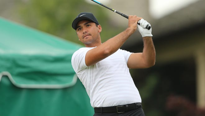 Jason Day tees off on the tenth hole during the second round of The Memorial golf tournament at Muirfield Village Golf Club.