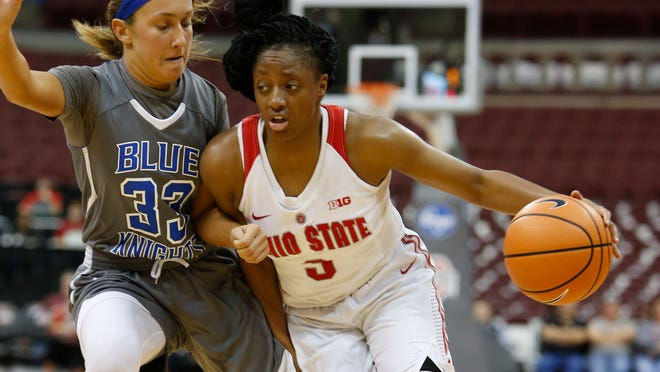 Ohio State's Kelsey Mitchell, right, drives to the basket against Urbana's Megan Beachy during the first half of an NCAA college basketball game Sunday, Nov. 5, 2017, in Columbus, Ohio. (AP Photo/Jay LaPrete)