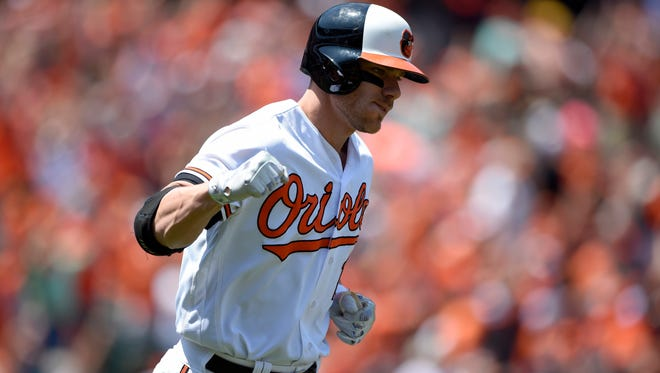 Baltimore Orioles' Chris Davis reacts as he starts to round the bases after he hit a grand slam during the first inning of a baseball game against the Tampa Bay Rays, Sunday, June 26, 2016, in Baltimore. (AP Photo/Nick Wass)
