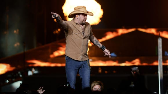 Jason Aldean performs to a sold-out crowd Oct. 3 at the grand-opening concert for the Denny Sanford Premier Center.