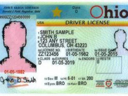 A sample of the new Ohio driver's license.
