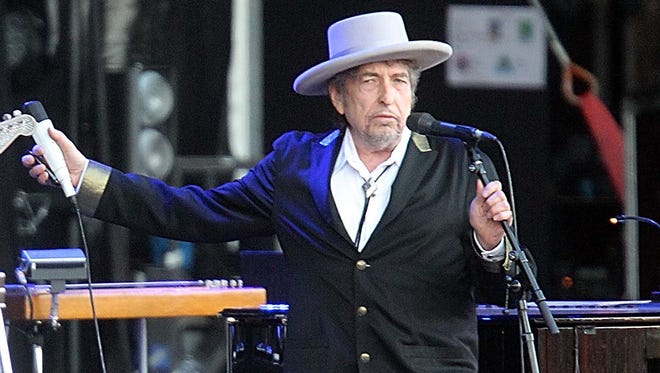 Bob Dylan performs at Les Vieilles Charrues Festival in Carhaix, western France, in July 2012.