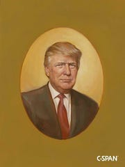 "An oil painting of President Donald Trump from a presidential oil painting exhibit titled ""American Presidents: Life Portraits."""